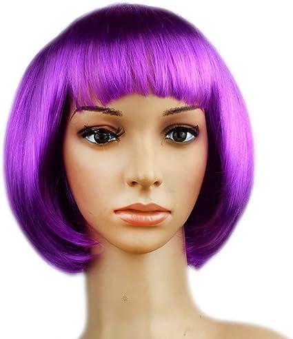 Señoras corto Bob peluca recta pelucas moradas accesorio de ...