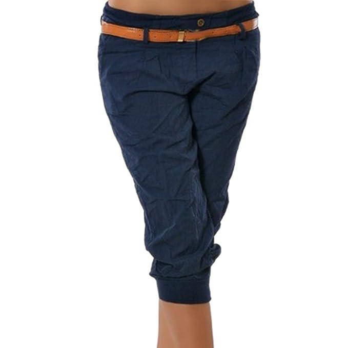 Wenyujh  Damen Hose Freizeithose Sommerhose ohne Gürtel Kurz Skinny Hose  Streetwear Bleistift Hose Mode Elegant 8c507eef40