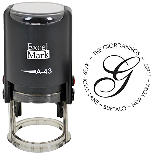 Custom Self Inking Address Stamp with Monogram - Style 195 (Personal Monogram)