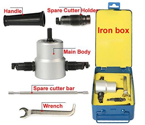 Double Head Sheet Metal Nibbler Cutter Holder Tool Power Drill AttachmentKit With Iron Box