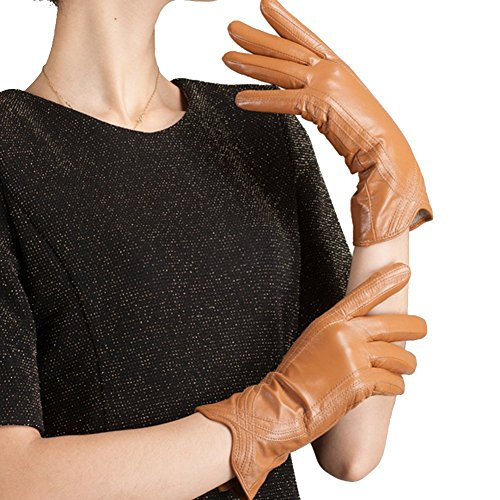 Nappaglo Nappa Leather Gloves Warm Lining Winter Handmade Curve Imported Leather Lambskin Gloves for Women (L, Khaki) (For Gloves Women Short Leather)