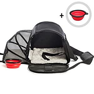 Pet Carrier for Small Dogs, Medium & Large Cats | Airline Approved Bag Under Seat, Expandable, Soft Sided | Cat, Dog, Kittens, Puppies Carriers Up to 16lbs with Free Travel Bowl by GloBal Pet