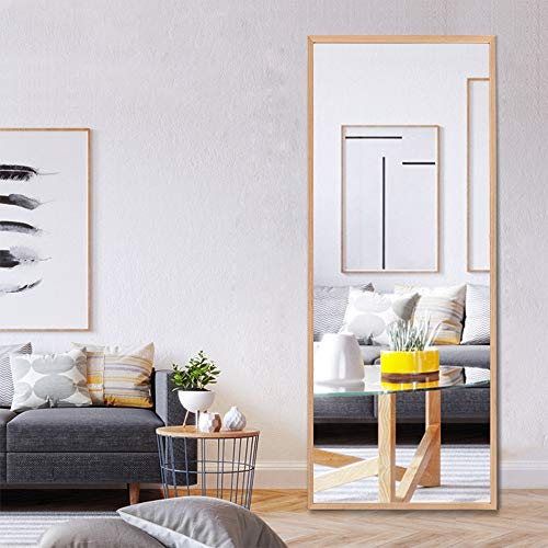 """NeuType 65""""x22"""" Full Length Mirror Standing Hanging or Leaning Against Wall, Large Rectangle Bedroom Mirror Floor Mirror Dressing Mirror, Solid Wood Frame Wall-Mounted Mirror"""