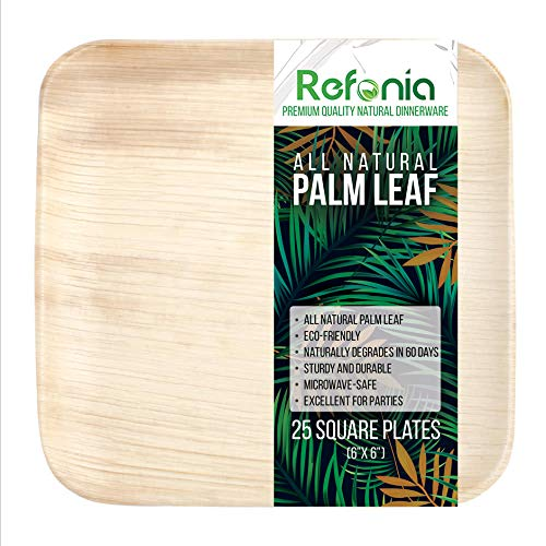 """Refonia All Natural Bamboo Palm Leaf Plates - 6"""" Square Dessert Plates - 25 Count - 100% Compostable & Biodegradable, BPA Free - Disposable - Excellent for Parties & Wedding"""