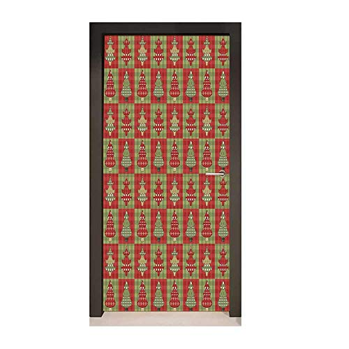 Homesonne Christmas Door Wallpaper Different Styled Noel Trees on Checkered Squares Background Vintage Quilt Door Creative Decoration Ruby Reseda - Tree Everest Christmas