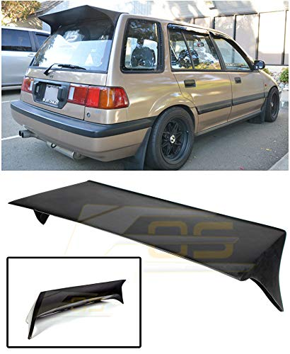 Replacement for 1988-1991 Honda Civic EE2 EE4 | EOS J's Racing Style JDM Fiberglass Primer Black Rear Top Roof Wing Lip Spoiler