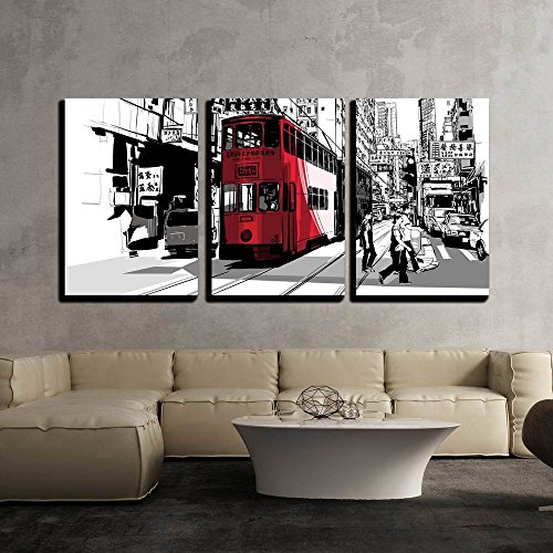 wall26 - 3 Piece Canvas Wall Art - Street in Hong Kong - Vector Illustration - Modern Home Decor Stretched and Framed Ready to Hang - 16