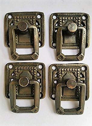 Crafts Drawer Pulls - 4 unique Arts and Crafts Mission Antique Style Solid Brass Ring Pull Drawer Handles ~1 1/4