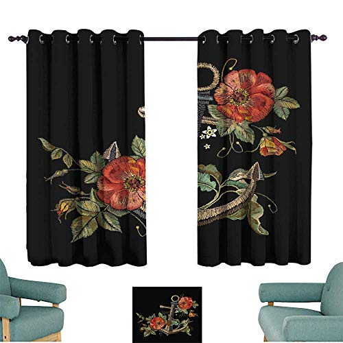 (Decor Curtains Embroidery anchor and red roses embroidery Classical fashionable embroidery anchor beautiful red roses template for clothes textile t-shirt design 70%-80% Light Shading, 2 Panels,)
