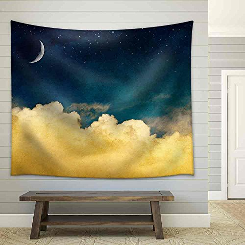 A Fantasy Cloudscape with Stars and a Crescent Moon Overlaid with a Vintage Textured Watercolor Paper Background Fabric Wall