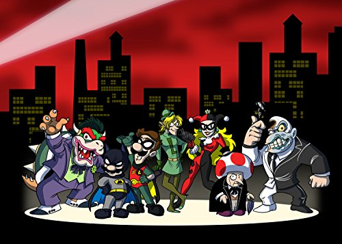 All Character Heroes & Villains Video Game & Bat Super Hero Parody - Rectangle Refrigerator Magnet