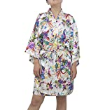SexyTown Women's Satin Kimono Robe Floral Robes for Bridesmaids Short Style (Large, Style2-White)