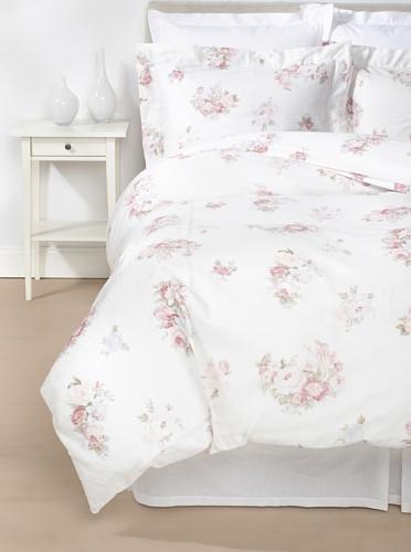 Belle Epoque Rose-Print Duvet Cover Set, White/Pink, Queen