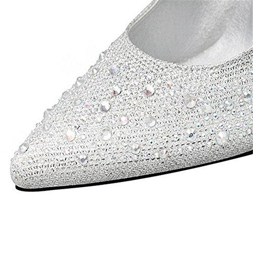 espectáculo punta de La tacón el coreana color versión zapatos perforación taladro agua con de de fina zapatos la de único solo alto delgada video luz de el de elegante Silver luz de OUxqXUz