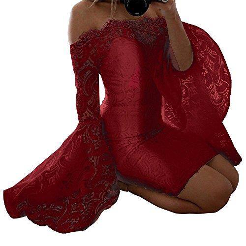 Elegant Dress Shoulder Floral Women's Bodycon SEBOWEL Red Party Lace Evening Off Cocktail q5wZnTC