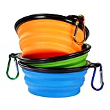 (US) Cymas Travel Dog Bowl, Pet Supplies Collapsible Pet Food Water Feeding Bowl for Dog & Cat [3-pack]
