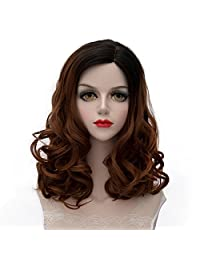 "Lolita Median Long Small Curly Hair Cosplay Wig Japan COS Anime Costume Party Wigs 18"" (Dark Brown)"