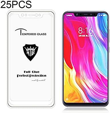 Color : Black Glass Film GUOHUN Screen Protector Protective 25 PCS MIETUBL Full Screen Full Glue Anti-Fingerprint Tempered Glass Film for Xiaomi Mi 8 Black