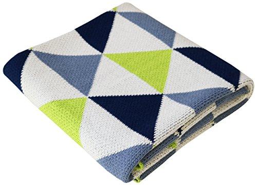 Soft-Cotton-Knit-Baby-Stroller-Nursery-Blanket-Navy-Lime-Sweet-Peaks-30x40