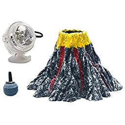 Uniclife Aquarium Volcano Ornament Kit with Red LED Spotlight Air Stone bubbler Fish Tank Decorations