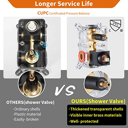 Cobbe Shower System,Shower Faucets Sets Complete,12 inches Rainfall Shower Head with Handheld, Shower Faucet Set for Bathroom Rough-in Valve Body and Trim Included
