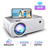 Wi-Fi Mini Projector, Upgraded 6000 Lux, Portable Outdoor Movie Projector, Full HD 1080P Supported, Wireless Screen Mirroring and Miracast, for Android/ iOS / Laptops/ Windows /PCs/ TV Stick- White