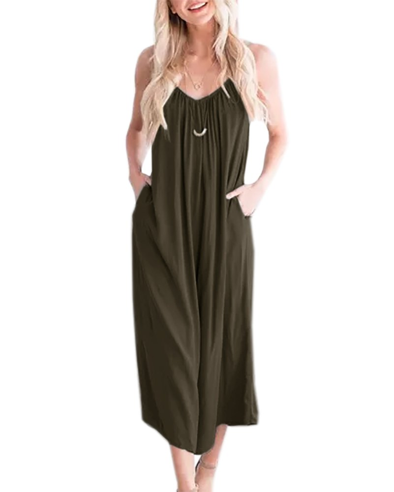 Imysty Womens Spaghetti Strap Jumpsuits Wide Leg V Neck Capri Overall Rompers