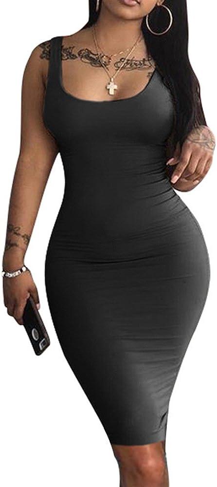 LAGSHIAN Women's Sexy Bodycon Tank Dress Sleeveless Basic Midi Club Dresses: Clothing