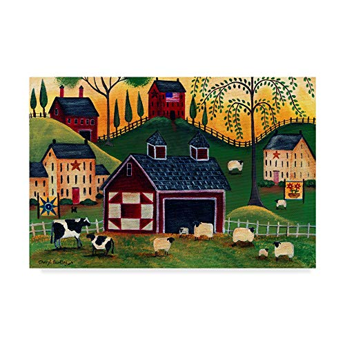 Trademark Fine Art Sunrise Red Quilt Barn by Cheryl Bartley, 30x47-Inch Fine Art, Multicolor ()