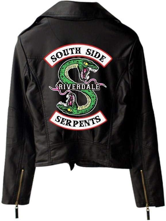 WLXFVNYBD New Riverdale PU Logo Impreso Southside Serpentinas de Riverdale Chaquetas Mujeres Riverdale Serpientes Streetwear Chaqueta de Cuero Negro4, XXL: Amazon.es: Deportes y aire libre