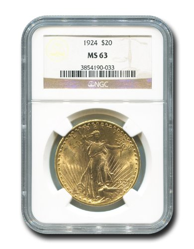 1924 No Mint Mark Saint Gaudens Twenty Dollar NGC MS-63