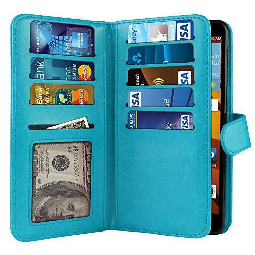 LG G Stylo LS770 G4 Note G Vista 2 H740 2nd 2015 Case, NEXTKIN PU Leather Dual Wallet Folio TPU Cover, 2 Large inner Pockets Double flap, 9 Card Slots Holder Snap Button & Wrist Strap - New Teal