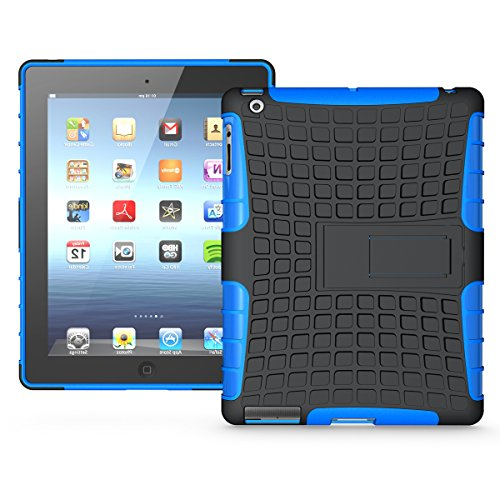 iPad 2/ 3/ 4 Funda,COOLKE Duro resistente Choque Heavy Duty Case Hybrid Outdoor Cover case Bumper protección Funda Para Apple iPad 2/ 3/ 4 - Azul Azul