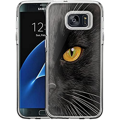 Samsung Galaxy S7 Edge Case, Snap On Cover by Trek Black Cat Face One Piece Trans Case Sales