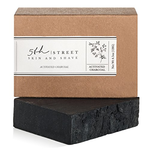 Activated Charcoal Soap Bar - Hand Soap for Men - Handmade All Natural, Anti-Fungal, Organic Oils - Black Bamboo Helps With Acne, Blemishes, Psoriasis, Eczema