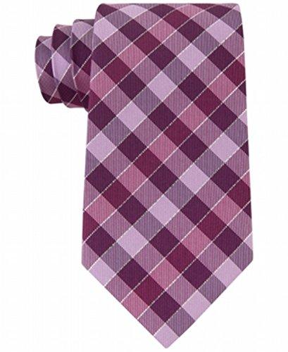 Berry Tie - Geoffrey Beene Men's Effortless Gingham Tie, Berry, One Size