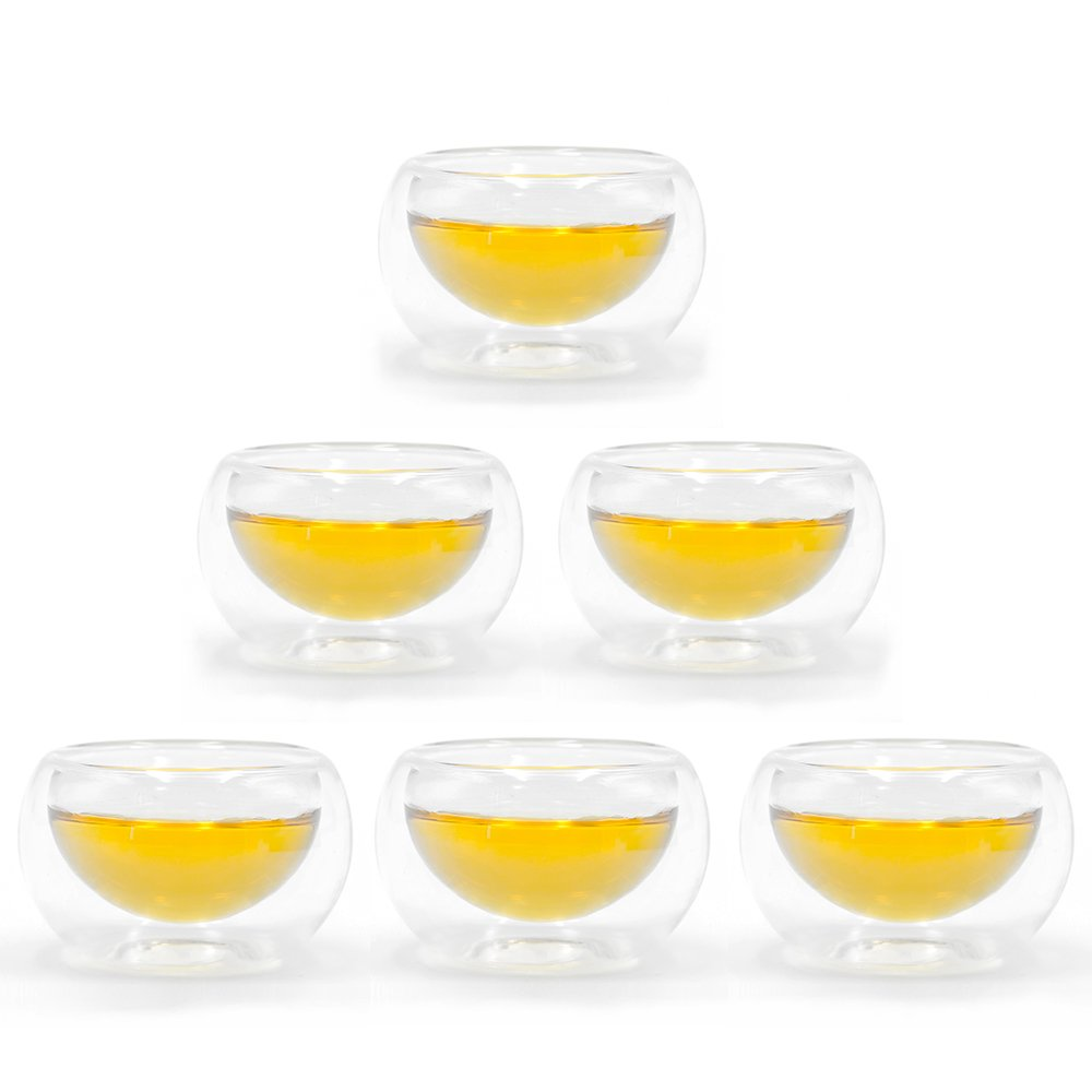 Tea Cup Set of 6 Double wall Borosilicate Heat-resisting Glass Teacups to be Best Paired with your Teapot - YupSip