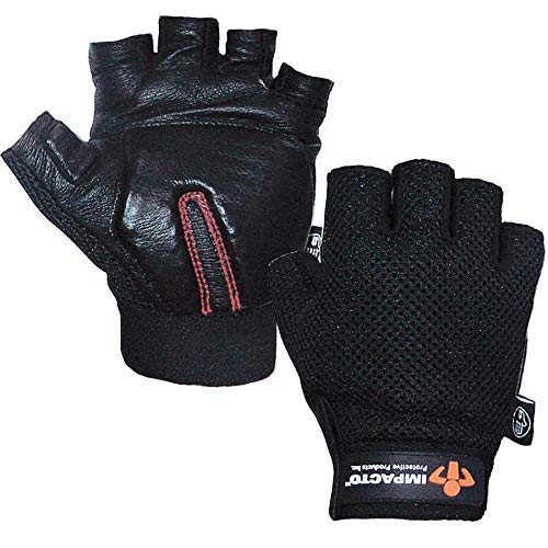 Impacto Anti-Vibration Gloves, Cowhide Leather Palm Material, Black, XL, PR 1 - ST8610XL