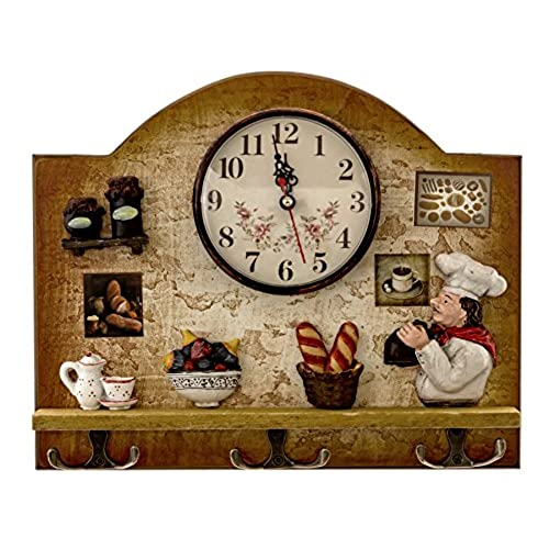 Heartful Home Fat Italian Chef Kitchen Decor Clock With Hooks   Unique Idea  For A Wedding Or Housewarming Present