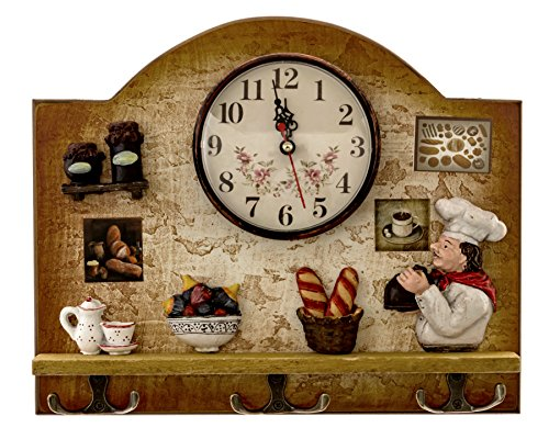 Heartful Home Fat Italian Chef Kitchen Decor Clock with Hooks - Unique Idea for a Wedding or Housewarming Present