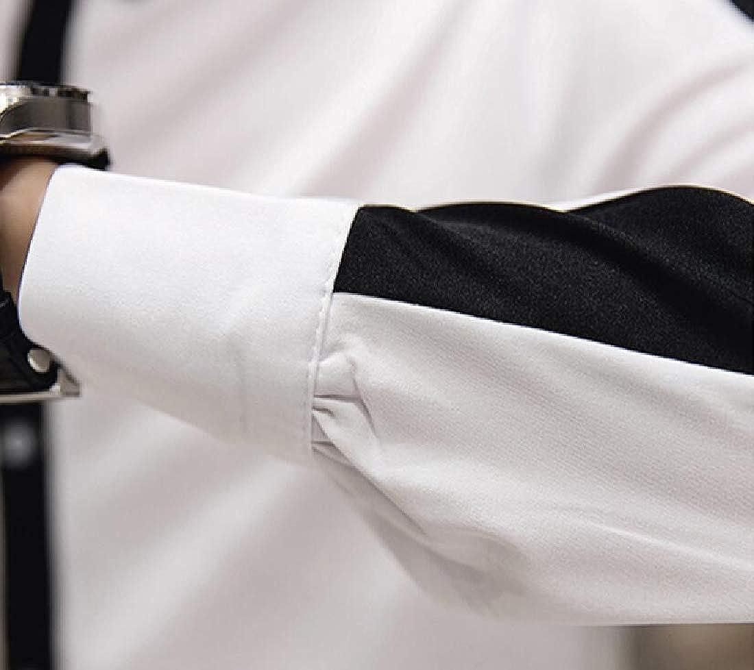 YYG Mens Splicing Long Sleeve Color Blocked Stylist Work Slim Fit Button Down Dress Shirts