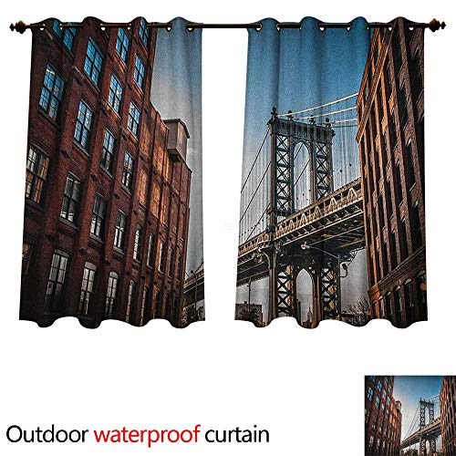 Anshesix New York Home Patio Outdoor Curtain Manhattan Bridge Seen from Narrow Alley Island Borough Globally Influential Town NYC W72 x L72(183cm x 183cm)