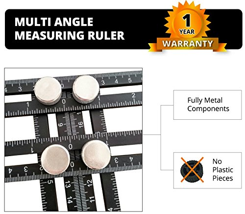 Universal Aluminum Alloy Angularizer Multi Angle Measuring Ruler, Tested & Proven Time Saver Easy Angle Template Tool, Multiangle Measuring Tool: Carpenters, Handymen, Tilers & DIY-FireWheel