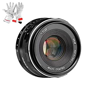 Meike 35mm f/1.7 APS-C Large Aperture Manual Focus Fixed Lens for Sony NEX 3/5/6/7 A5000 A5100 A6000 A6300 A6500 etc with Pergear Cleaning Kit for Lens