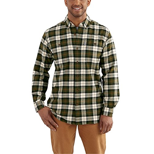 [Carhartt Men's 102217 Trumbull Plaid Shirt - Large - Olive] (Green Plaid Flannel Shirt)