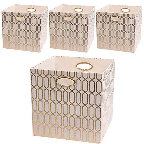 Posprica Foldable Storage Bins - 13x13 Fabric Storage Cubes Basket Boxes Containers Drawers (4pcs, Cream) (Storage 13' Bin)