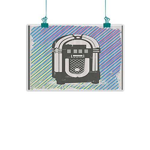 WinfreyDecor Jukebox Modern Frameless Painting Radio Party Dark Grey Vintage Music Box with Abstract Grunge Colorful Stripes Image Bedroom Bedside Painting 24