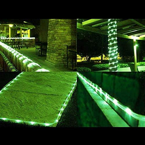 Solar Rope Lights Outdoor, 23ft 50LED Solar Rope Lights Outdoor wasserdichte Kupferrohrdraht Lichterketten für Garten, Hof, Weg, Zaun, Treppe, Hinterhof, Terrasse (grün), Partydekorationen