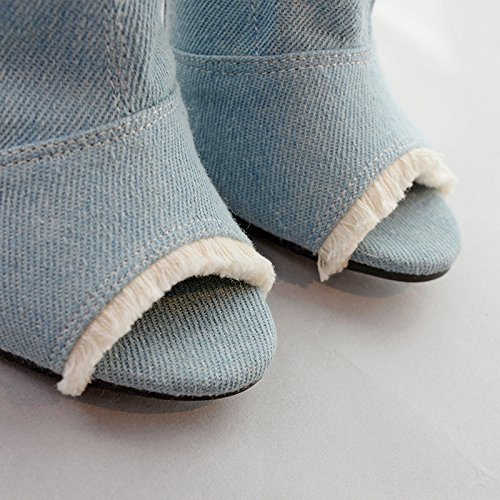 ZHZNVX Stylish so older holes rough edges bare boots denim fish mouth cold boots fine with female sandals blue YJJ3Ky7