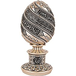 Islamic Table Decor Gift Mother of Pearl Egg Sculpture Statue Muslim Showpiece Home Decor Eid Ramadan Arabic Ayatul Kursi 1657
